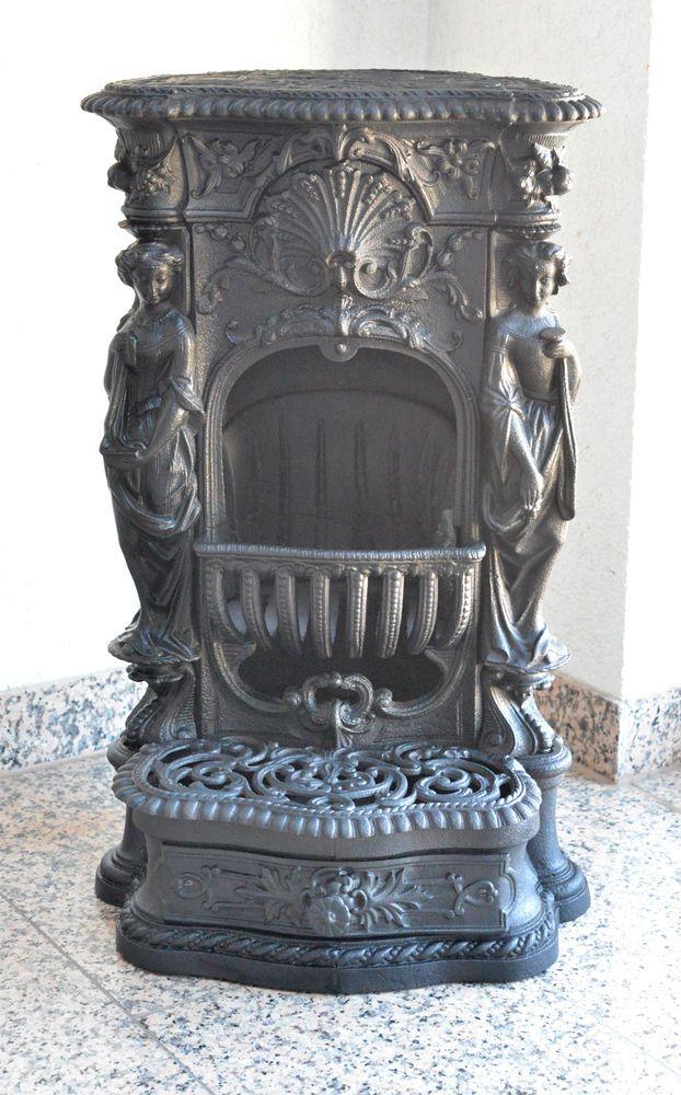 Antiker Kamin Ofen Gusseisen Frankreich Um 1880 Museal Gusseisen