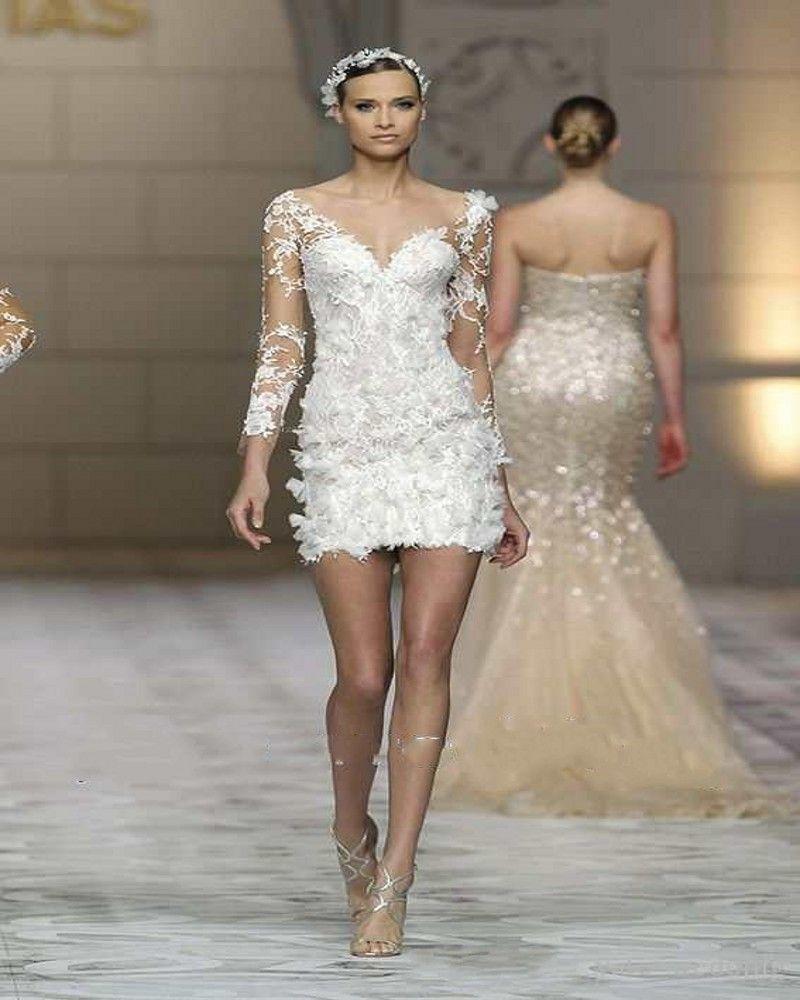 Mini wedding dresses   Short Wedding Dress With Long Sleeve Appliques Sheath Lace