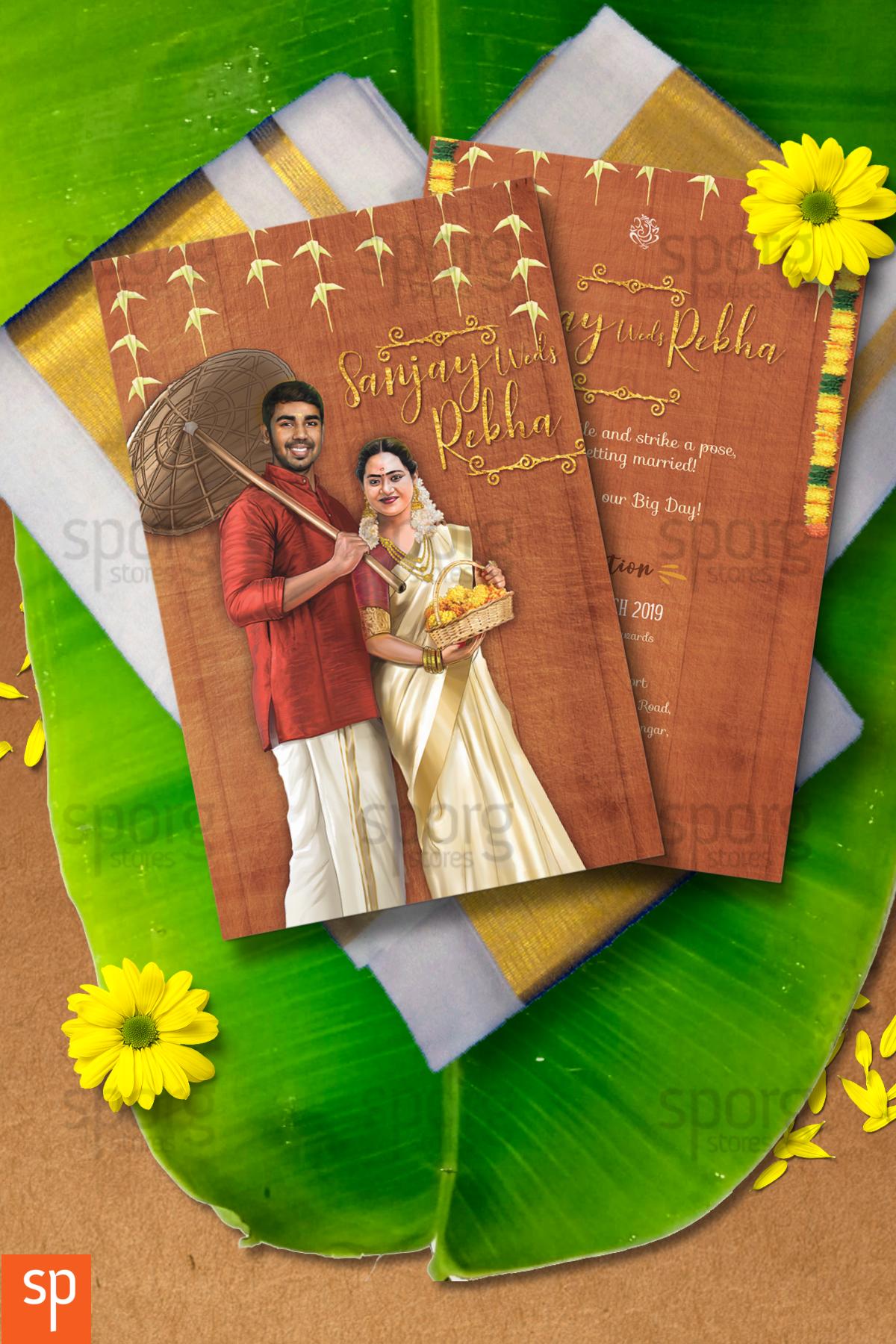 Personalised Kerala Wedding Invite Indian Wedding Invitation Cards Illustrated Wedding Invitations Digital Wedding Invitations
