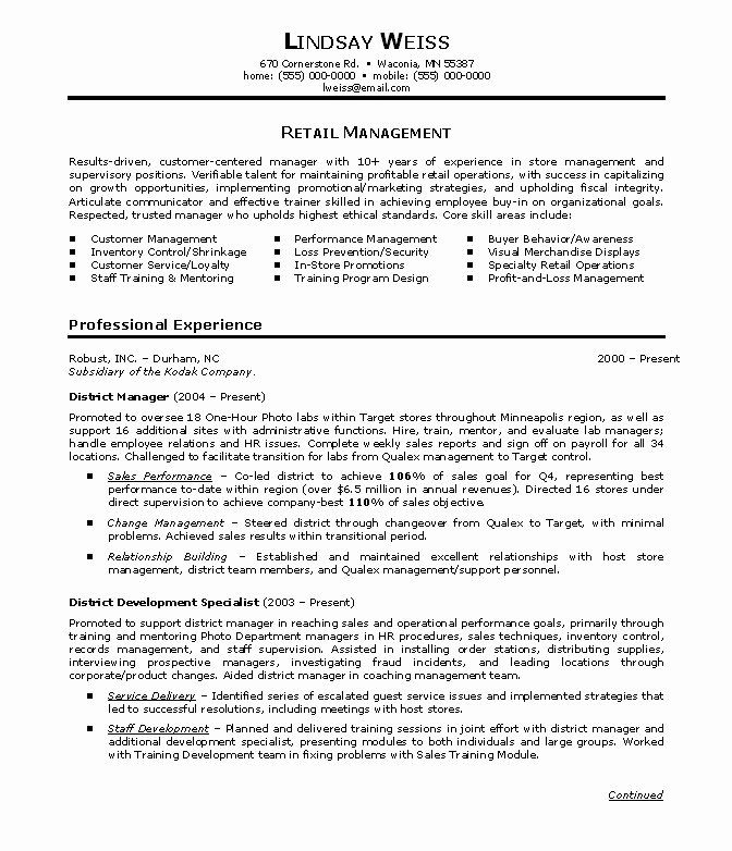 Resume Summary Examples for Retail Management Unique