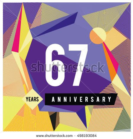 67th years greeting card anniversary with colorful number and frame. logo and icon with Memphis style cover and design template