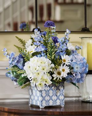 "magnolia, larkspur & daisy<br>silk flower arrangement   ""i can do"