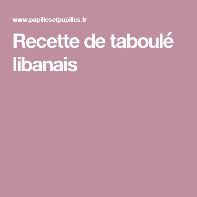 Recette de taboulé libanais