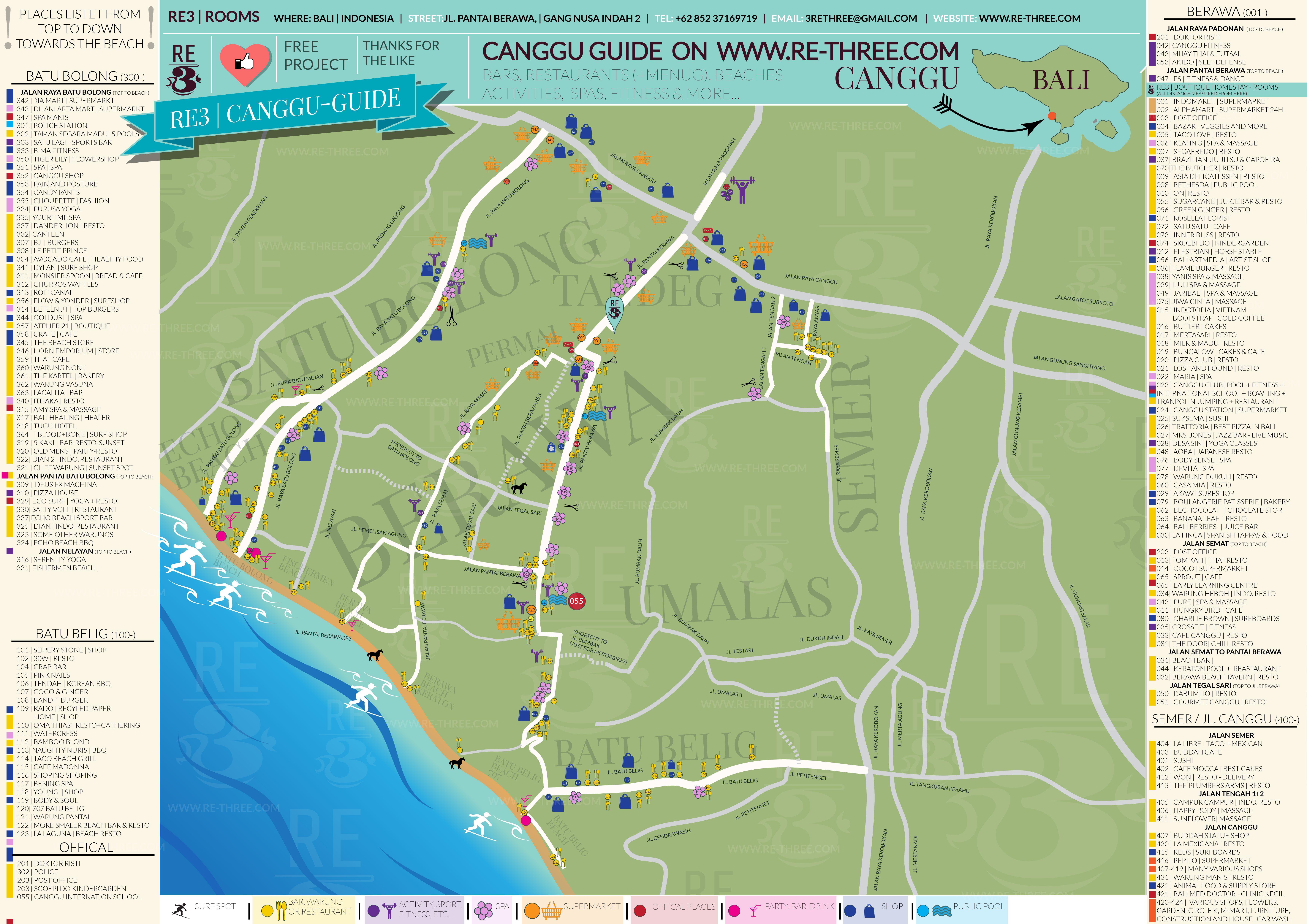 Canggu Guide Bali Map Free Download Restaurants Bar Spas