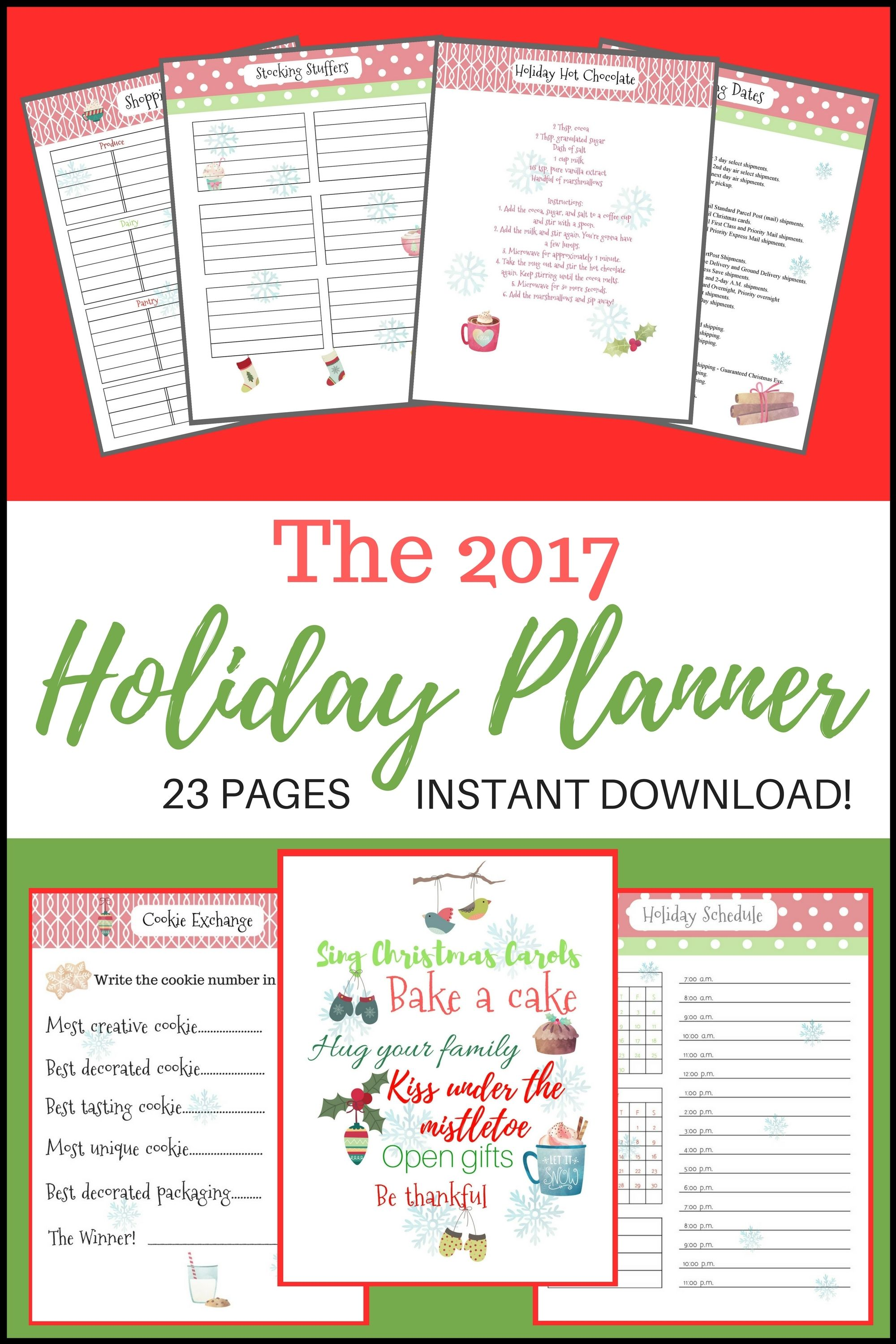 Holiday Planner - Schedule Calendar, Christmas Shopping List And Holiday