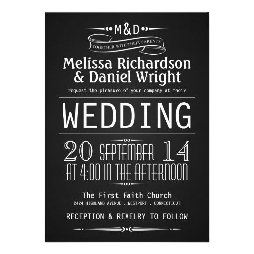 Monogram Chalkboard Typography Wedding Invitations