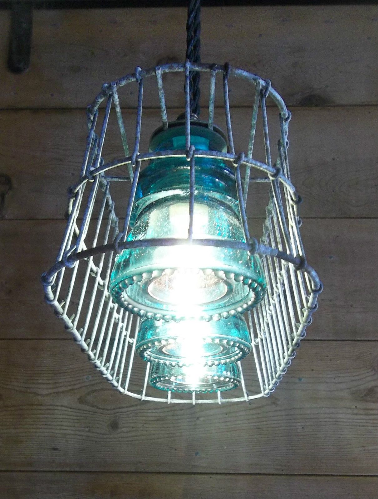 Wire Basket Milk Crate Glass Insulator Pendant Light Fixture