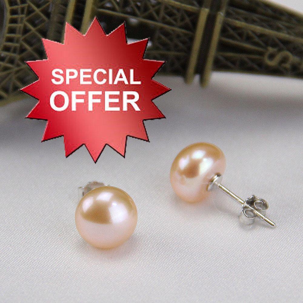 Pink Pearl Earings Earrings Studs Peach Multi Colored Fresh Water