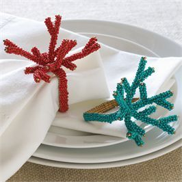 Beaded Coral Branch Napkin Ring | Living | Mud Pie