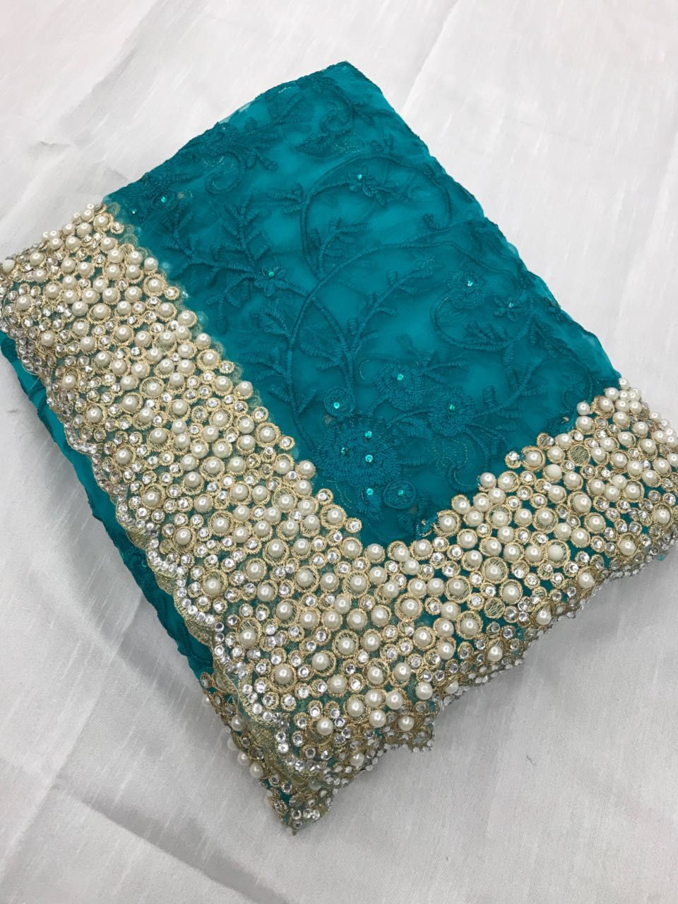 c6cf92ab63 HEAVY BRIDAL SAREES HEAVY NYLON NET WITH THREAD EMBROIDERY WORK WITH PEARL  STONE