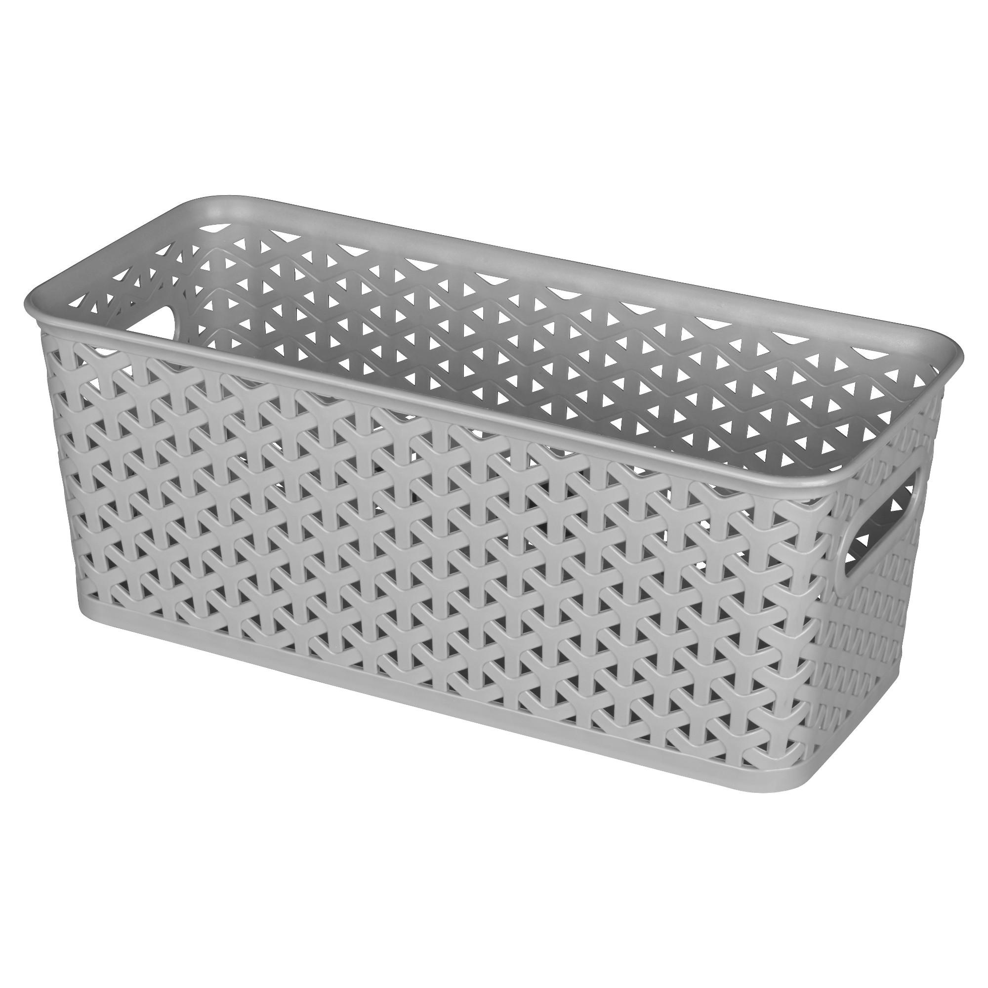 12 Medium Y Weave Rectangle Storage Bin Gray Room Essentials Rectangle Storage Plastic Storage Bins Cube Storage Bins