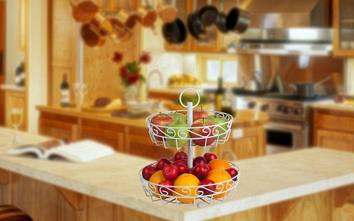 Cream 2-tier fruit basket stand with FREE melon baller. A stunning ...