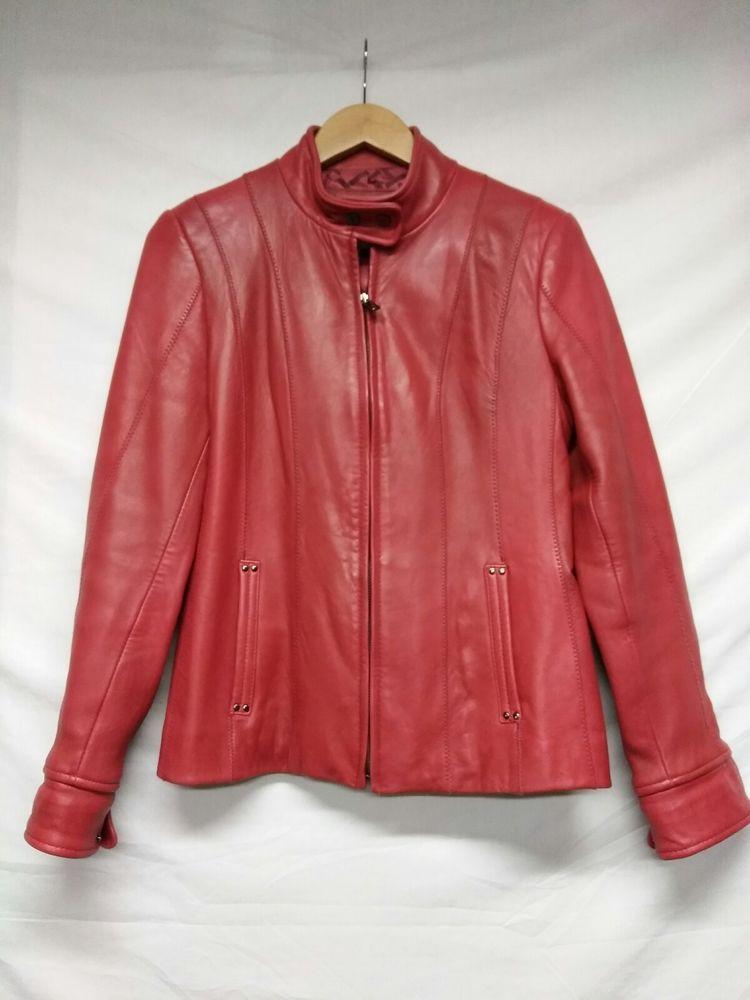 25a32067394 JONES NEW YORK Size S RED Zip Front Leather JACKET Coat Lined Pockets Moto   JonesNewYork  Motorcycle