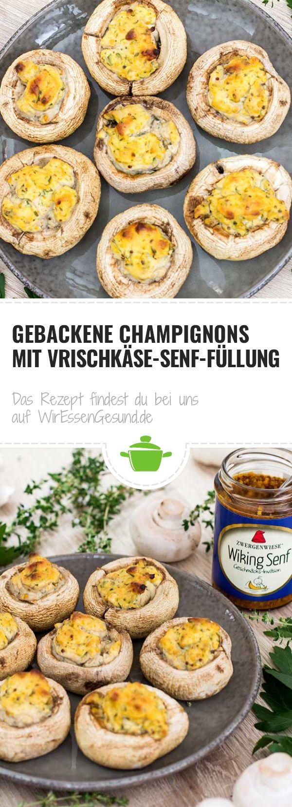 Gebackene Champignons mit Vrischkäse-Senf-Füllung - WirEssenGesund