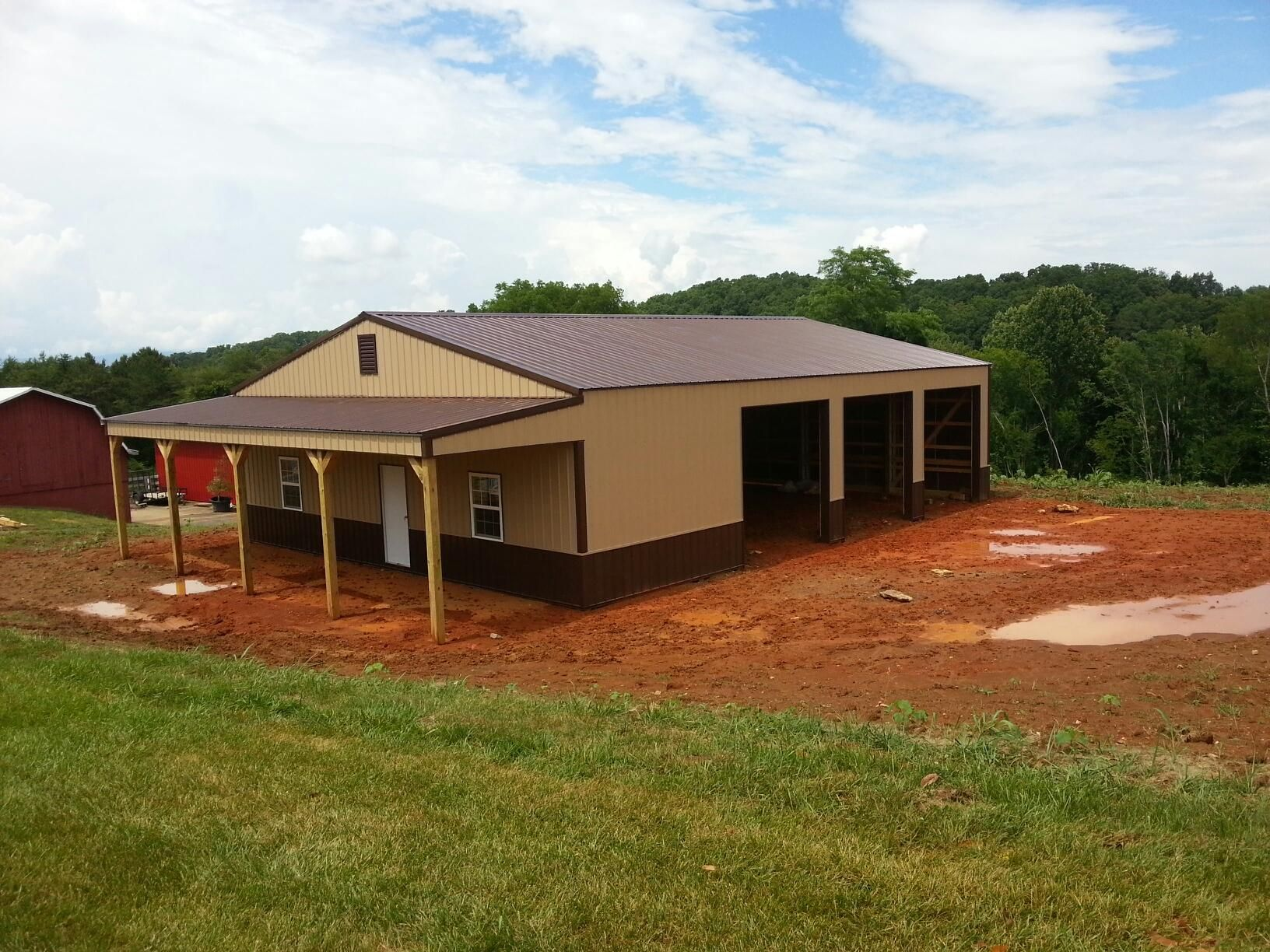 40x50x12 with 10x40 porch garage for Pole barn garage homes