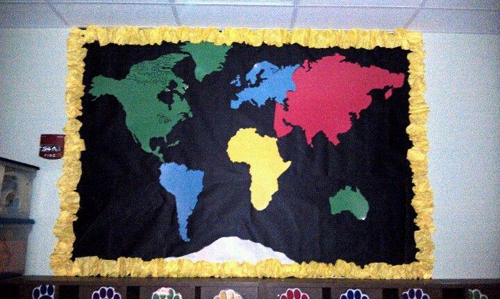 Continent Bulletin Board | School Ideas | Elementary library
