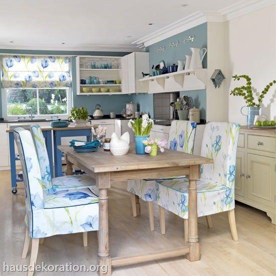 Kuche blau weiss landhaus - Fruhlingsdeko tisch ...