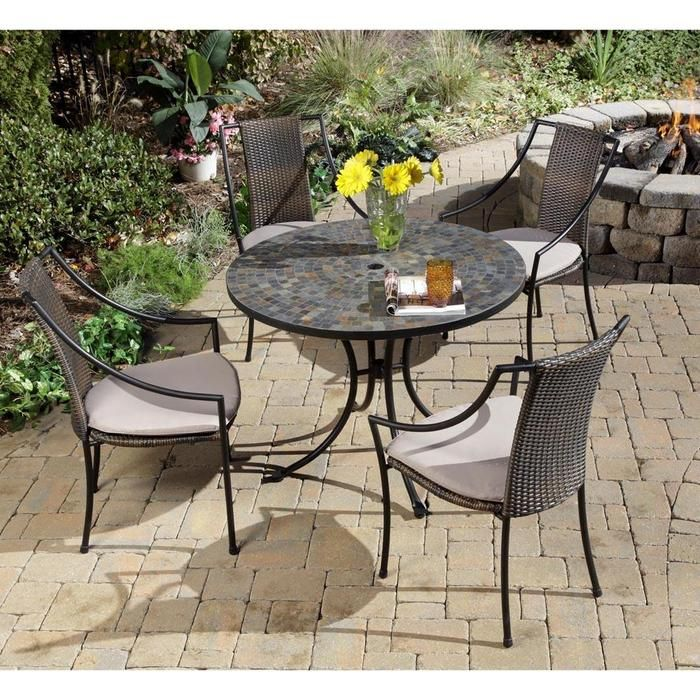 Furniture, Patio Furniture Sets Plus Ornamental Flowers Put In Beautiful  Vase: Various Outdoor Tables