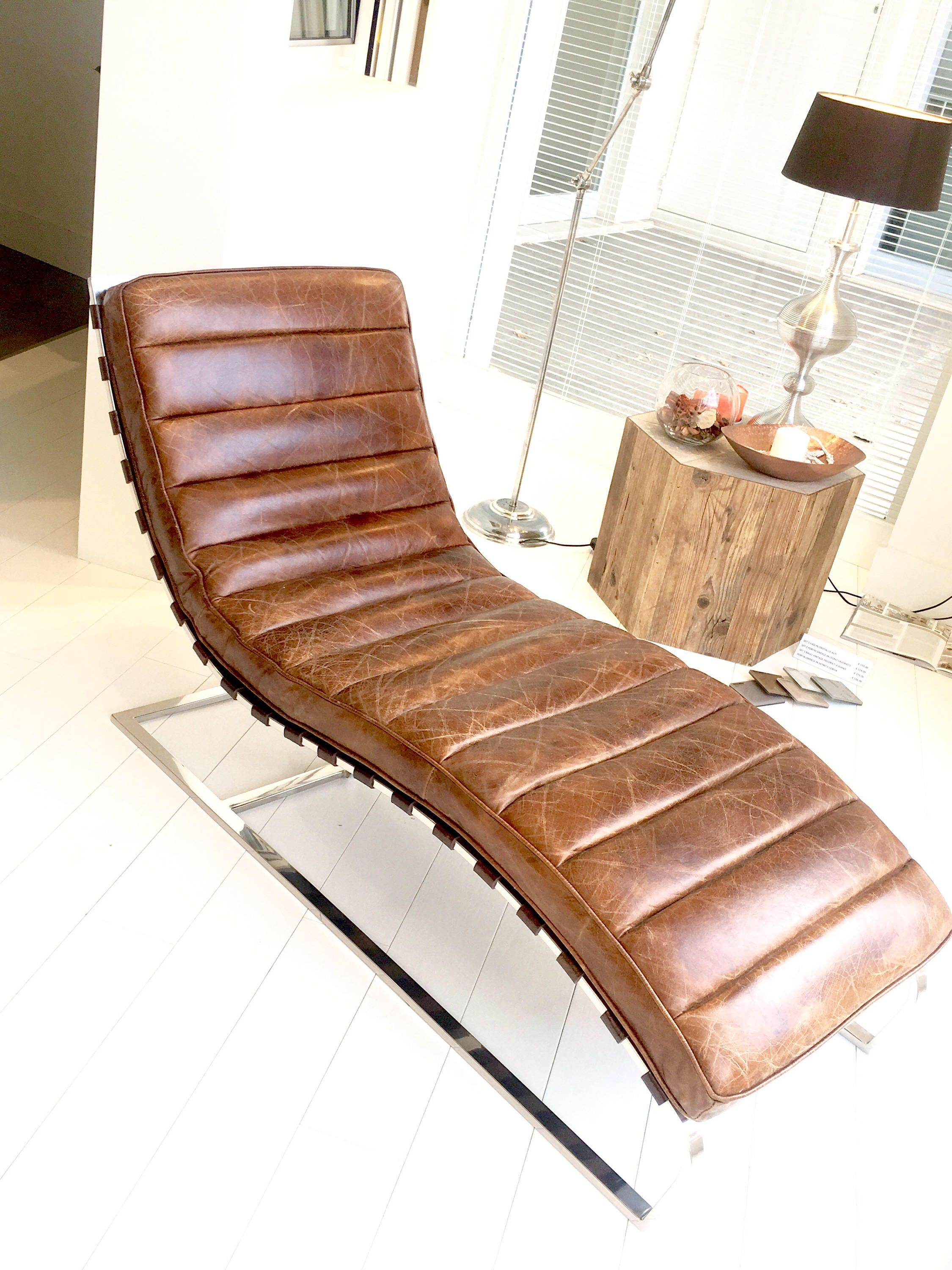 Vintage Chaise Longue Color Genuine Leather Cigar With Chromed