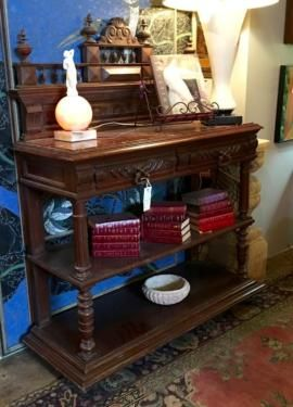 """Antique French Oak Buffet With Marble Top   45"""" Wide x 17"""" deep x 59"""" High   $1275   Rick's Antiques and Home Decor, Dealer #36  Lost. . .Antiques 1201 N. Riverfront Blvd. Dallas, TX 75207"""