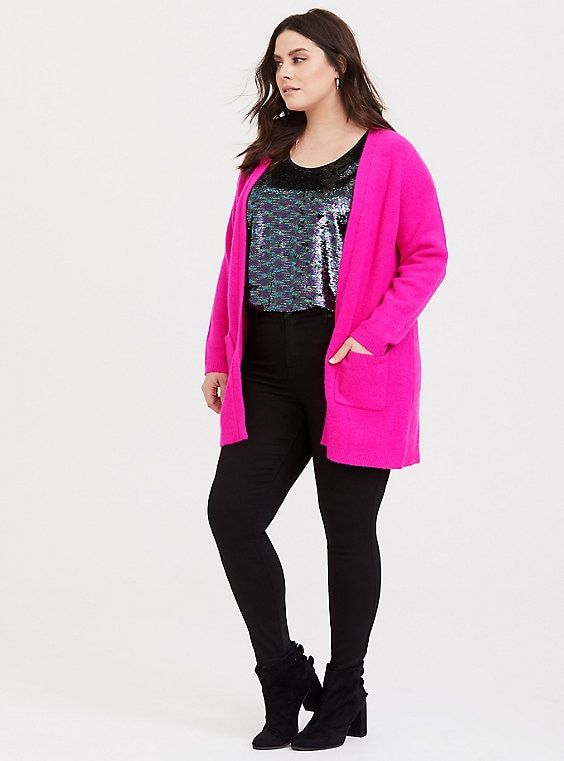 find lowest price new york most reliable Hot Pink Knit Open Front Cardigan | Products | Longline ...