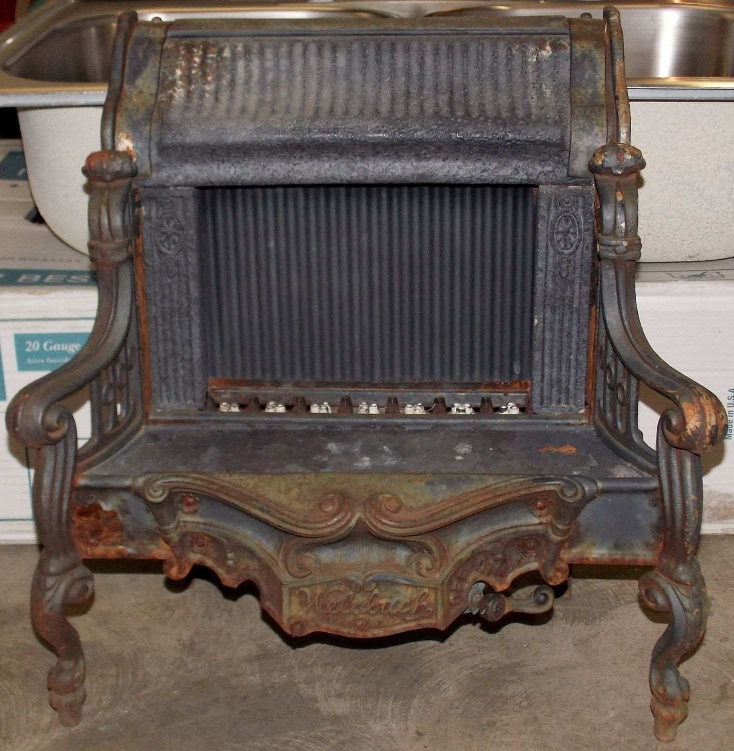 antique welsbach gas heater no 51 ornately designed deco period