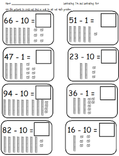 First Grade Shenanigans: Adding 10 and 1; Subtracting 10