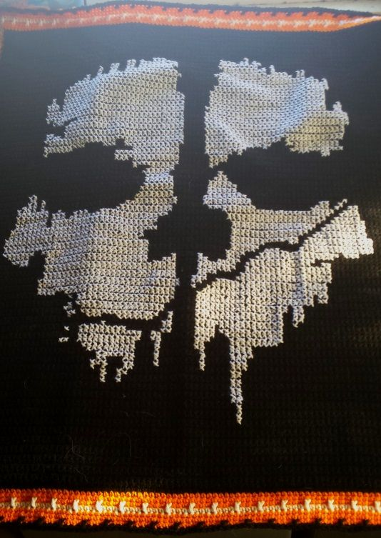 Xmas Blanket 6 Call Of Duty Skull Put Into Cross Stitch