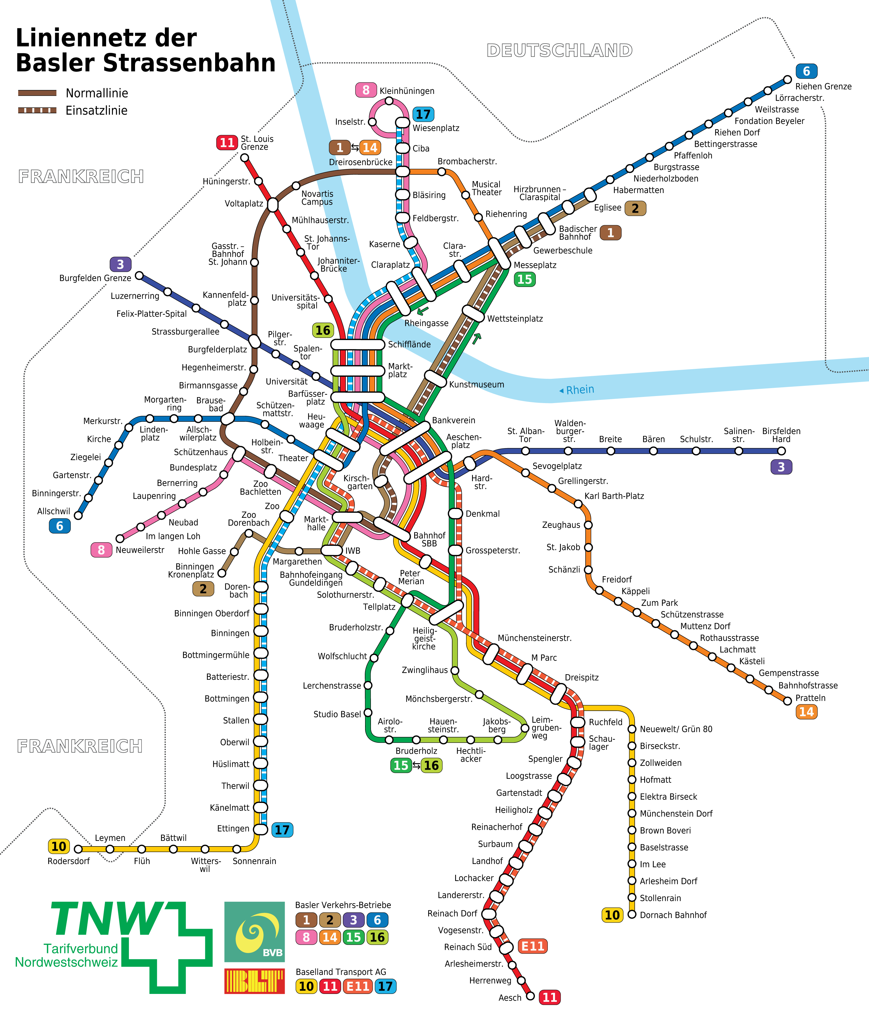 Liniennetz der Basler Strasssenbahn public transport maps