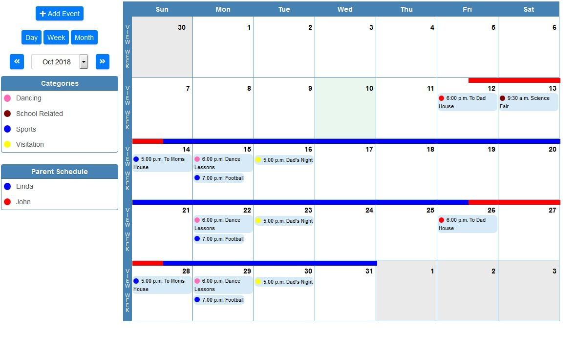 Shared Family Calendar Schedule Child Parent And Personal Events
