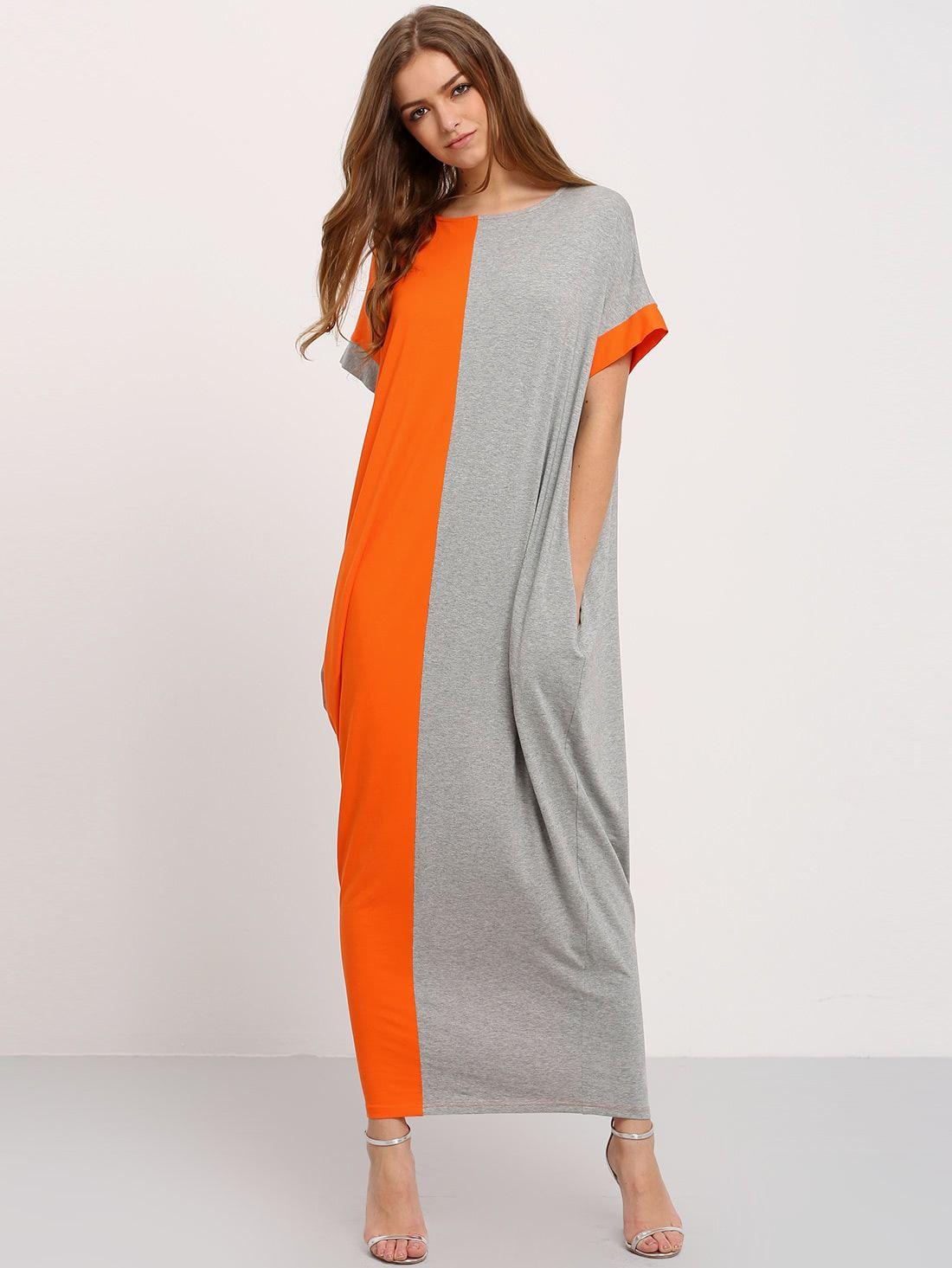Casual Tunic Colorblock Shift Straight Round Neck Short Sleeve Natural Multicolor Maxi Length Color Block Pockets Maxi Dress Fashion Pocket Maxi Dress Clothes [ 1465 x 1100 Pixel ]