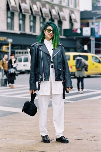 vanessa jackman blogger black leather jacket white pants green hair