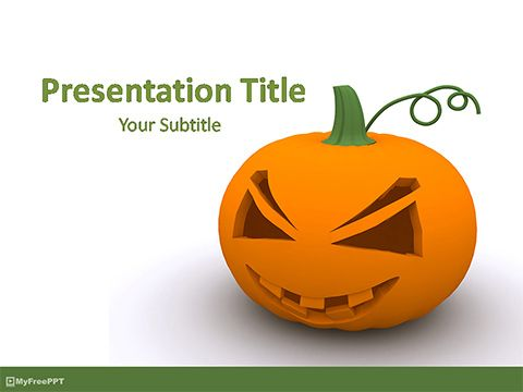 Free 3d Halloween Jack-O-Lantern PowerPoint Template Powerpoint TP
