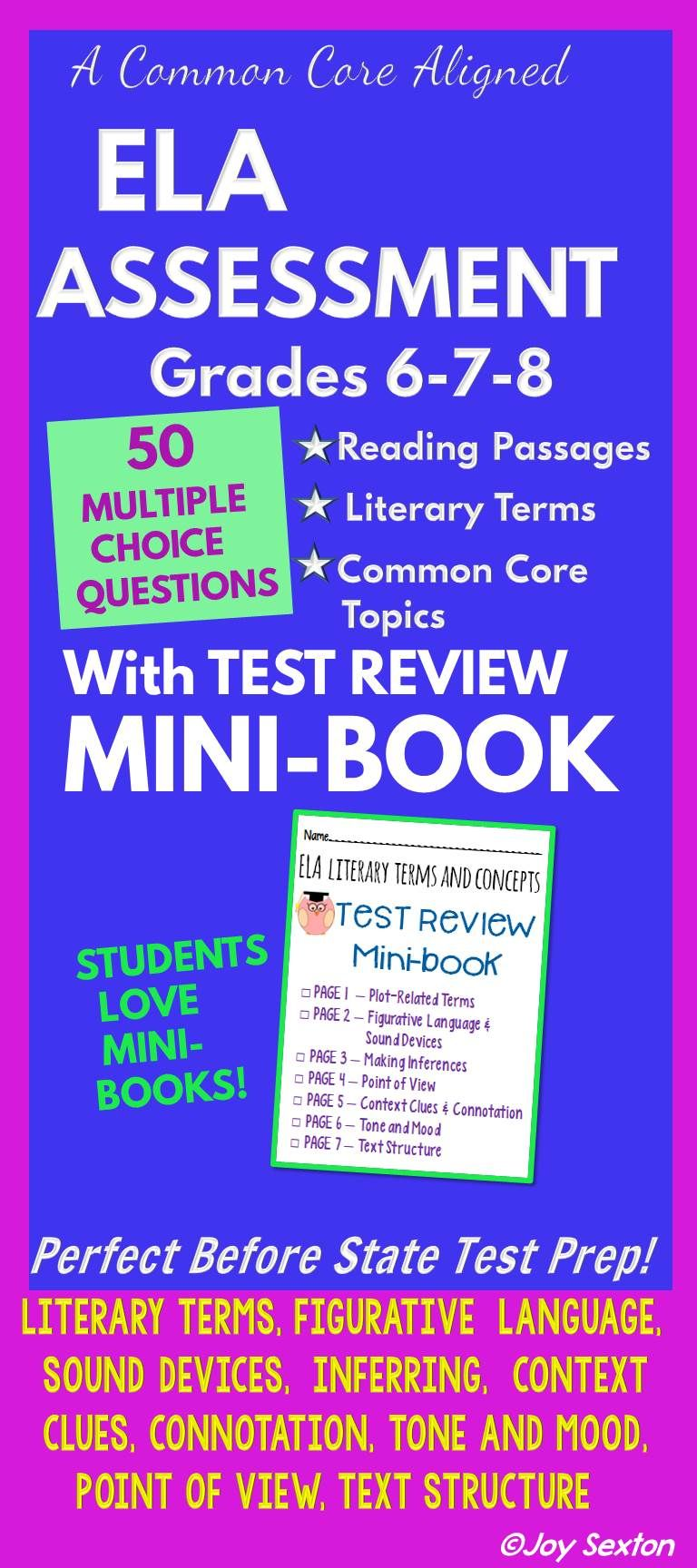 Ela Assessment Exam With Test Review Mini Book Grades 6 8 Common
