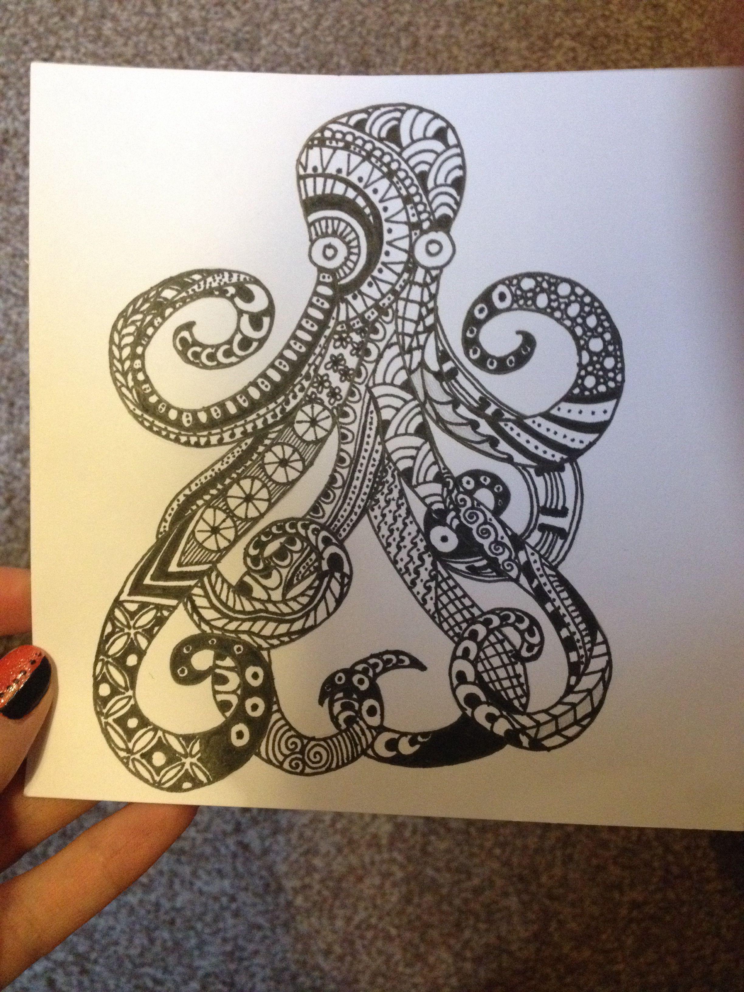 my zentangle octopus zentangle designs pinterest doodles zentangles and doodles zentangles. Black Bedroom Furniture Sets. Home Design Ideas