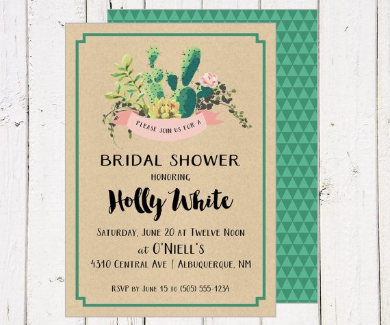 76fe785f07dc Printable Wedding Bridal Shower Invite invitation - Succulents - cactus -  southwest - aztec - geometric backside - green - pink - kraft