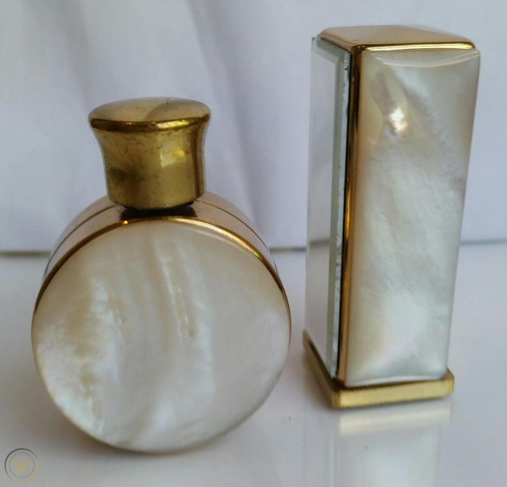 Photo of Vintage Mother of Pearl perfume bottle and Lipstick Tube. Beautiful pair. | #182…