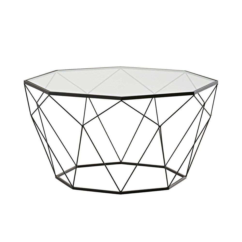 Black Metal And Tempered Glass Coffee Table Blossom En 2019