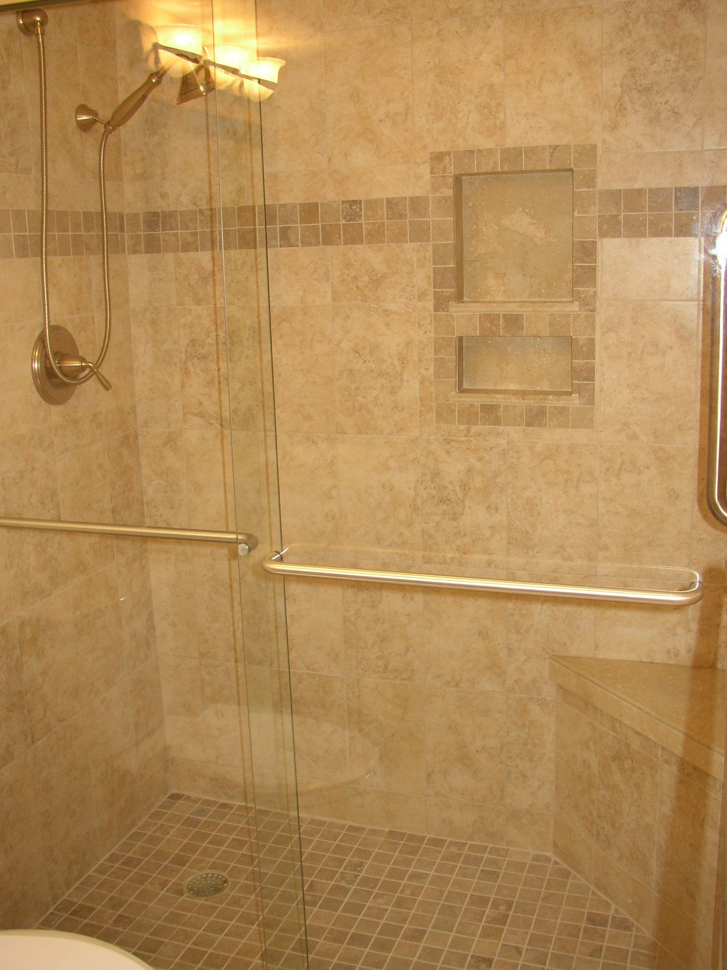 Dazzling Shower Niche Bath Storage Area Basic Element Tile Shelves Design Idea