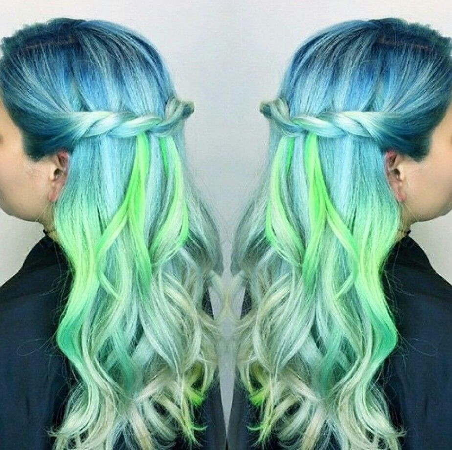 blue green pastel dyed hair color hair styles. Black Bedroom Furniture Sets. Home Design Ideas