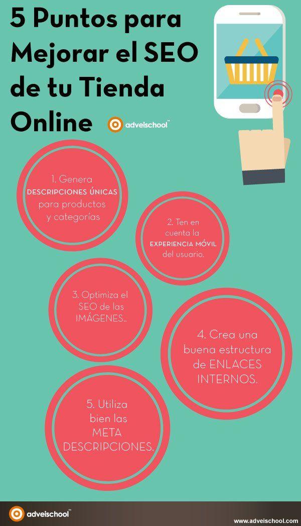 5 puntos para mejorar el SEO de tu tienda online #infografia #ecommerce #seo