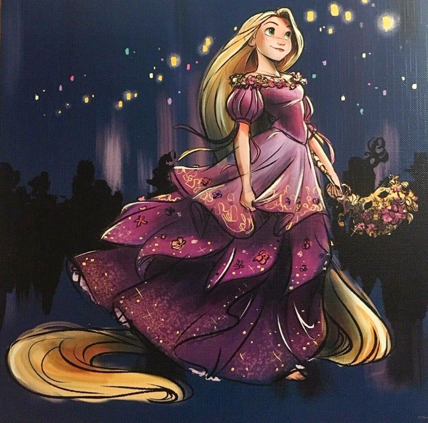 Disney Designer Collection Midnight Masquerade art images of Belle, Cinderella, Esmeralda, Tiana, Rapunzel, Meg, Aurora and Giselle