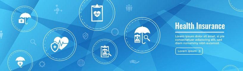 Health Insurance Web Banner Umbrella Icon Set With Medical Icons Affiliate Web Banner Health I In 2020 Medical Icon Health Insurance Companies Web Banner