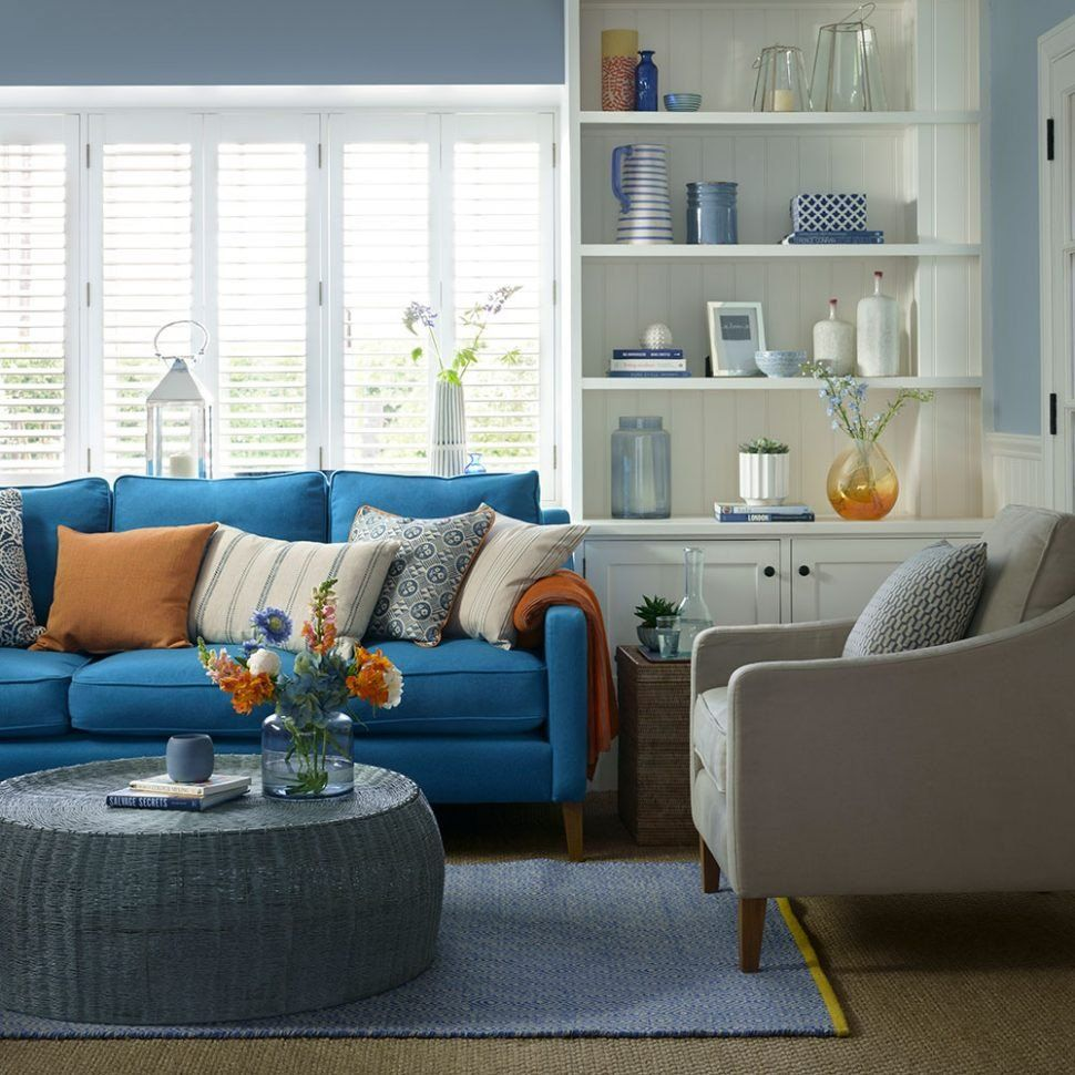 Blue Living Room Walls Living Room Blue Living Room Wall Ideas Grey Curtains In 2020 Blue Furniture Living Room Blue Couch Living Room Blue Couch Living