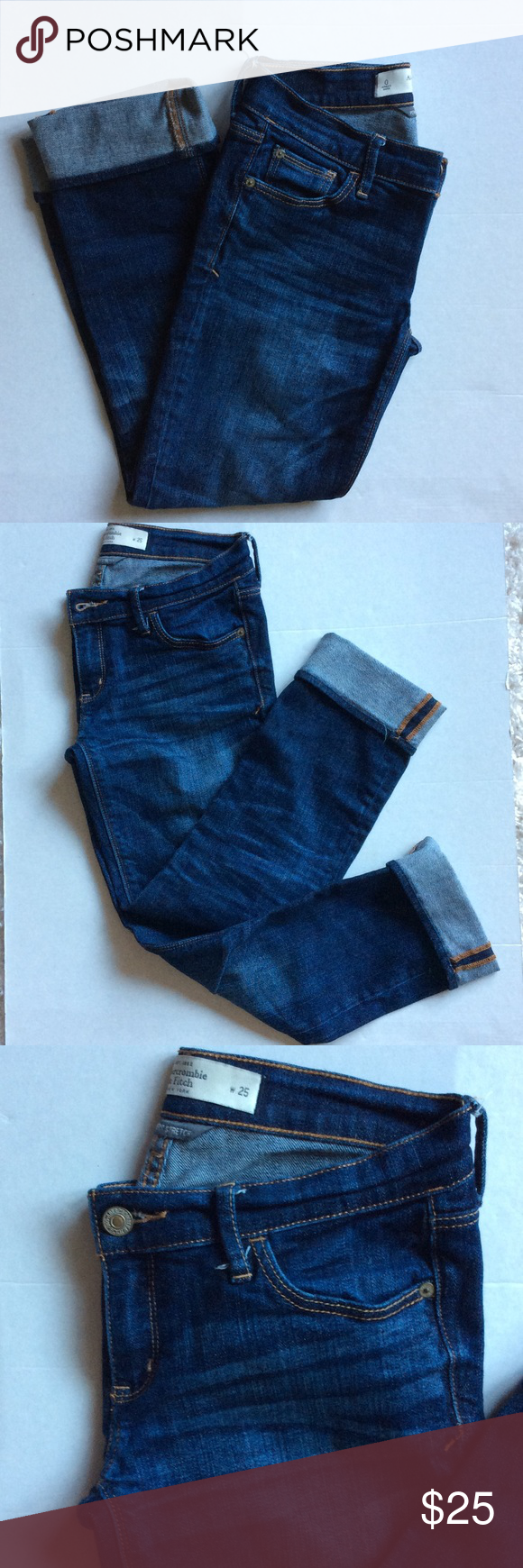 Abercrombie & Fitch Size 0 Cropped Jeans 🌻 Great condition! Gently worn! Fading in the Jean is the style of the Jean not a flaw. A spot in the back of the left pant leg shows a little bit more fading than the other side but it's the way they came. No dye on any Jean is completely perfect if you pay close attention but besides that they are perfect and like new! Great for Fall! 🍁🍂🍁🍂 Abercrombie & Fitch Jeans Ankle & Cropped