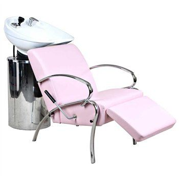 White bowls, Shampoo chair, Pink shampoo