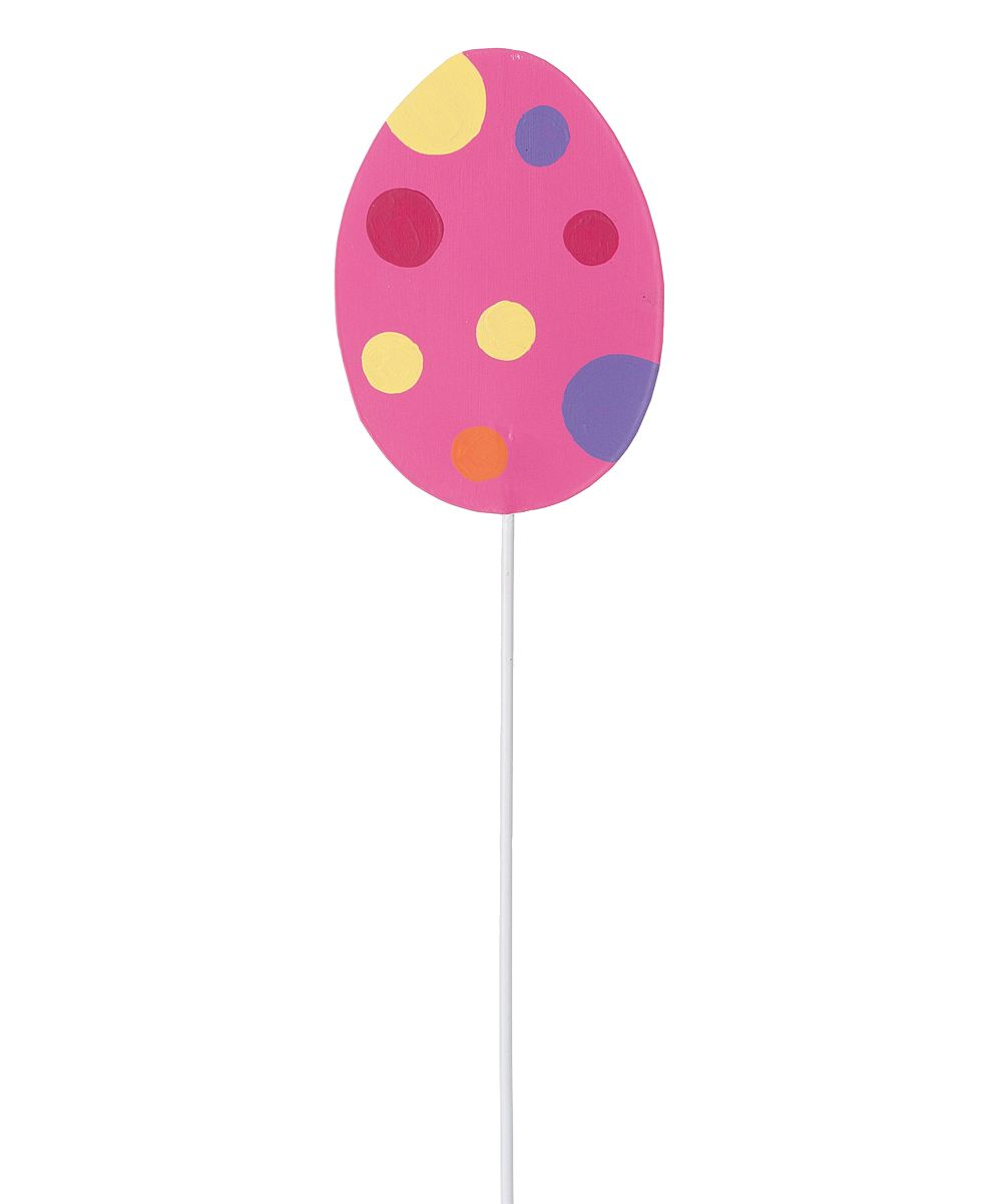 Pink Polka Dot Metal Easter Egg Garden Stake