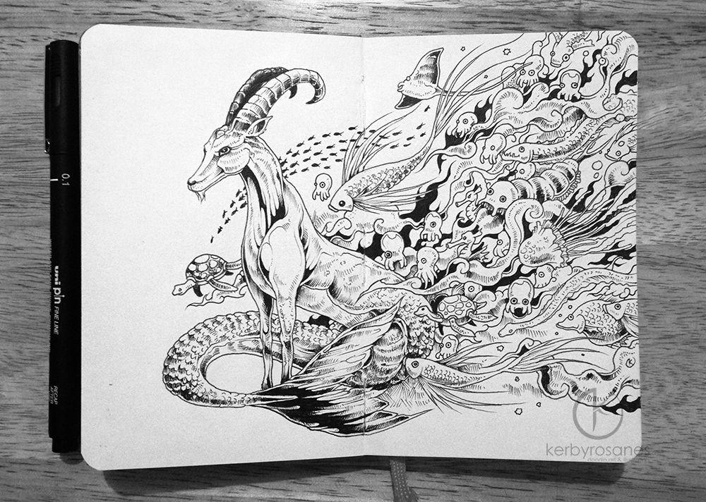 MOLESKINE DOODLES Capricorn By Kerbyrosanesdeviantart