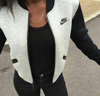 7a9a9317eae6 nike grey jacket baseball jacket nike sportswear casual trendy jacket black  zip grey bomber jacket sportswear women gray hoodie nike jacket fleece  hipster ...