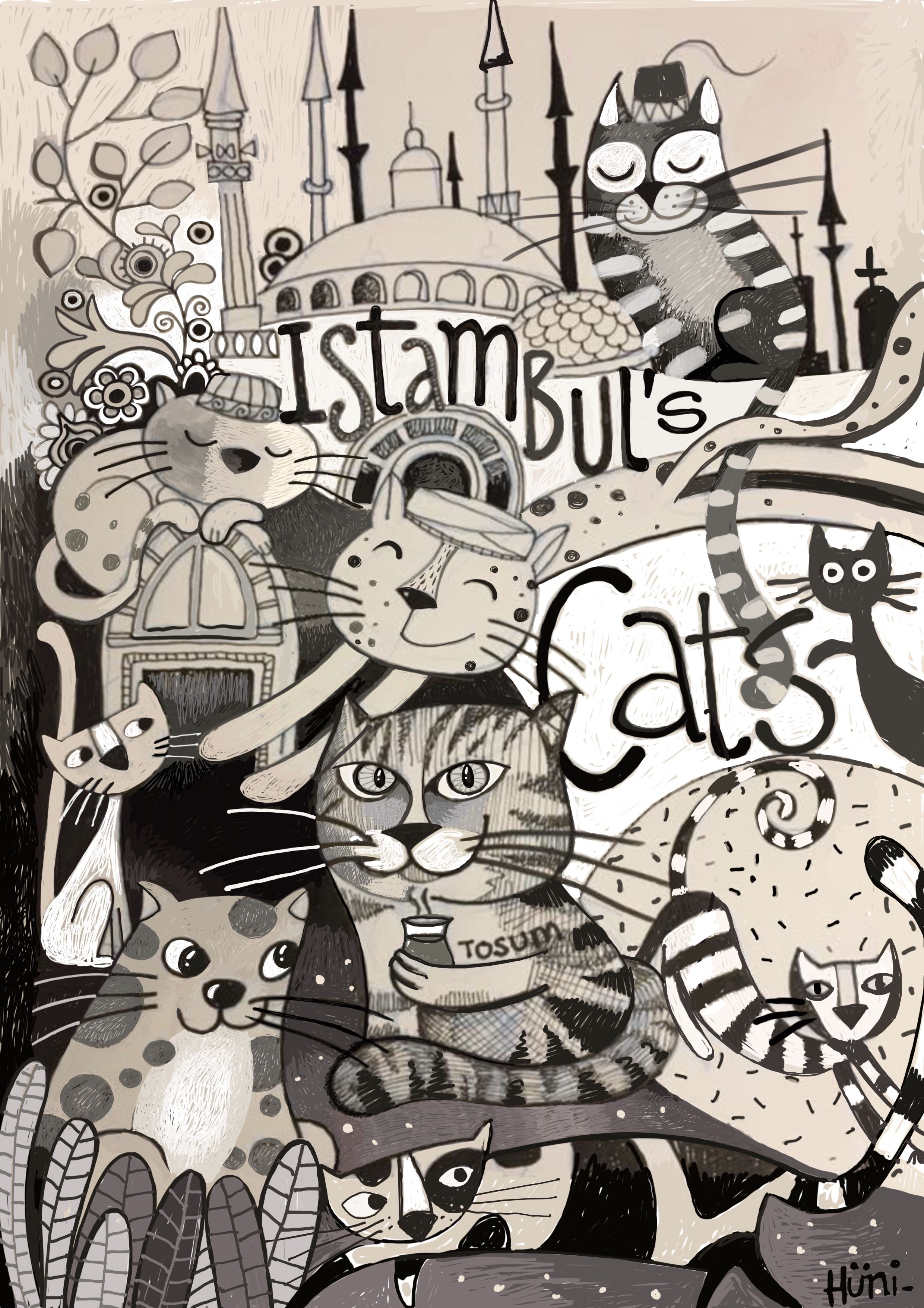 Istambul S Cats B W By Ines H Ni Cats Kittens Painting  # Muebles Nelly Maria